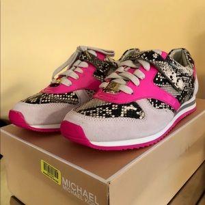 New Michael Kors Alexandra Pink Trainer Sneakers
